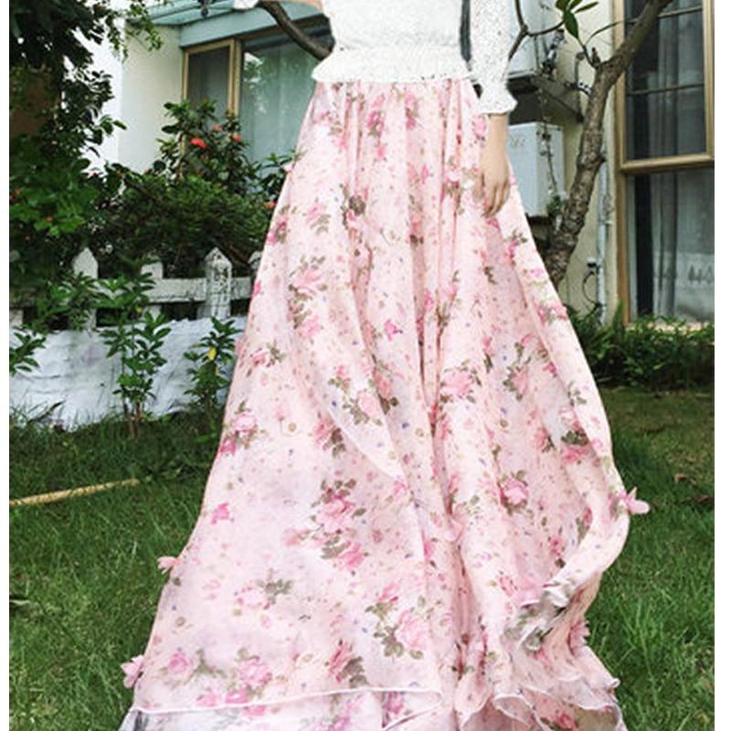 2020 Summer Woman New Large Plus Size 6XL 7XL 8XL Female Fashion Pink Chiffon Lace Polka Dot Floral Long Female skirt for Womens 1