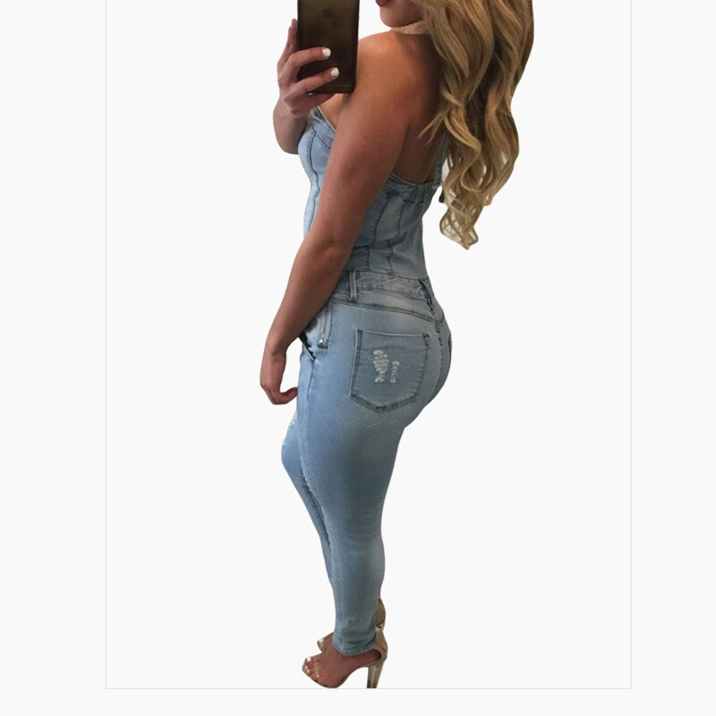 Denim Overalls Women 2018 Sexy Halter Jeans Jumpsuits Square Neck Sleeveless Playsuits Body For Women Rompers Womens Jumpsuit 1