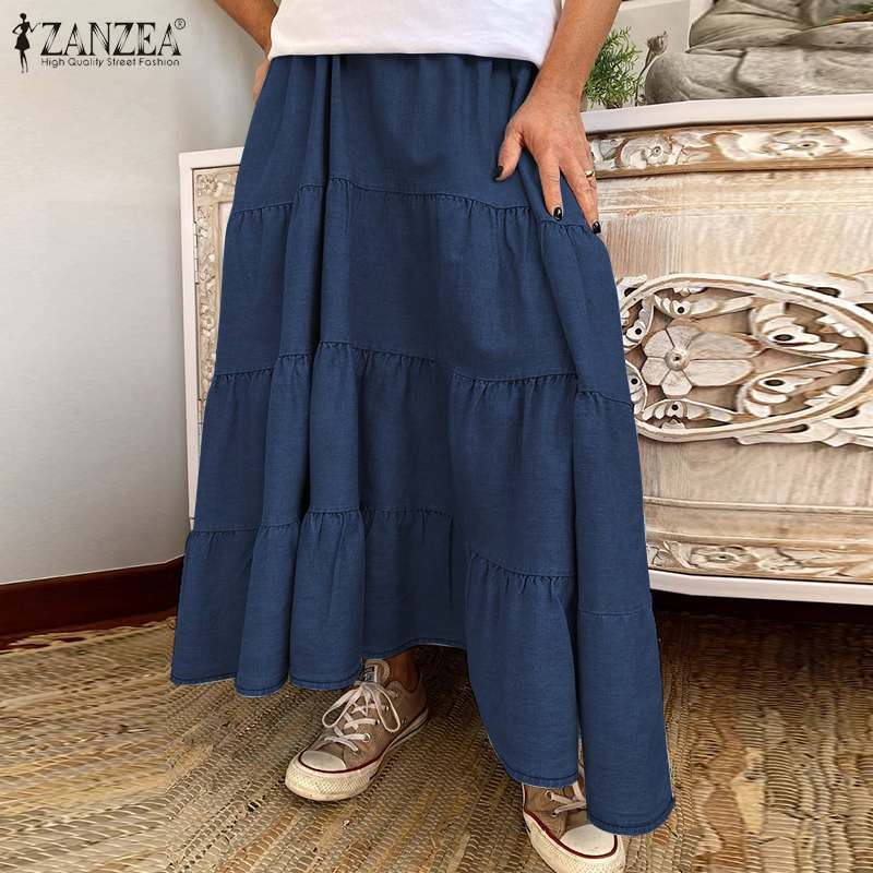 ZANZEA Women Long Skirts Vintage Ruffles High Waist Maxi Faldas Saia Casual Solid Holiday Loose Female Cake Skirt Plus Size 5XL 4