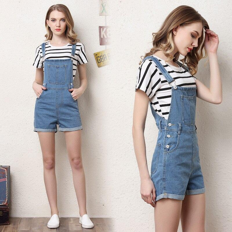 QMGOOD Summer Women Denim Overalls Fashion Playsuit Dungarees High Waist Jumpsuit Girls Short Jeans Blue Shorts Jumpsuits Female 2