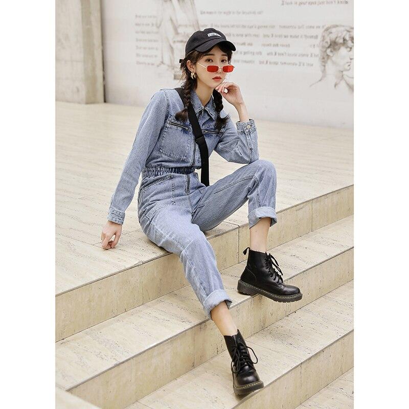 Fashion Streetwear Long Sleeve Denim Overalls Women Elastic High Waist Tunic Bodycon Rompers Zipper Big Pockets Jeans Jumpsuit 3