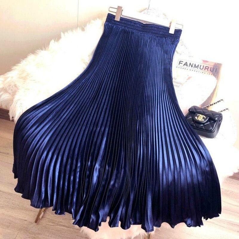 Korean Women Fashion Pleated Satin Long Skirt Female Chic Streetwear Elastic High Waist Red Skirts Saia 2020 Spring Summer FY316 4