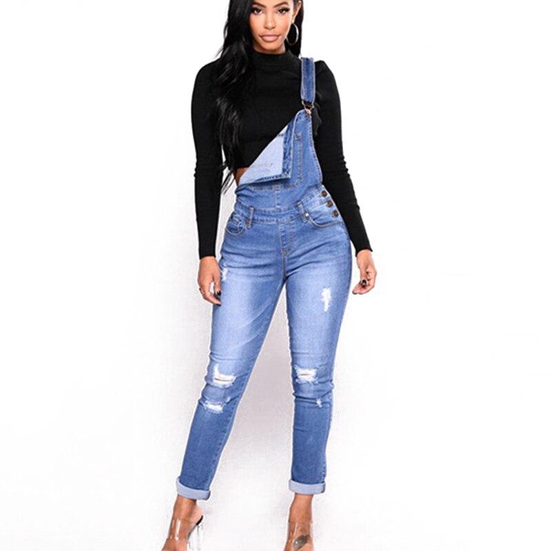 Autumn pants ladies pants suspenders jean women hole pencil pants new belt jeans spring