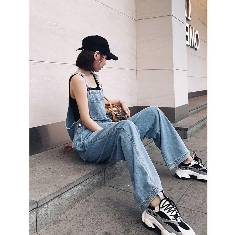 Denim Overall Women's 2020 New Summer Drape Wide Leg Jeans Korean-Style Loose Mopping Pants Women's Fashion 1