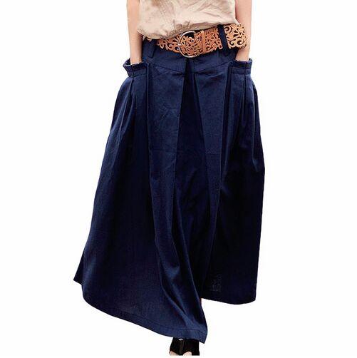 Qaturalan Women Linen Long Summer Skirt 2018 Saia Solid Faldas Skirt Maxi Women Big Pockets High Waist Pleated Casual Skirts 1