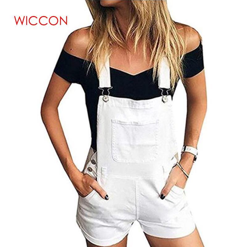 2020 Summer Spring Women Short Solid Denim Jumpsuit Romper Overalls Casual Jeans Shorts Girl Fashion Slim Playsuits 1