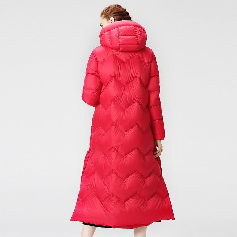 Lightweight down jacket New Winter Parka Womens Down Jacket Solid Split Long White duck Down Coat Warm Hooded Jacket Big Pockets 2