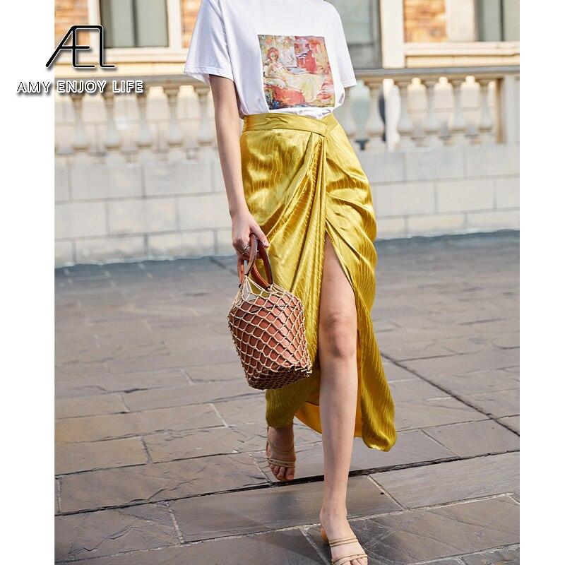 AEL Asymmetric High Split Skirt Woman Retro Long Satin Skirt Wrap Hip 2020 Summer Femme Midiskirt Elegant Slim High Waist