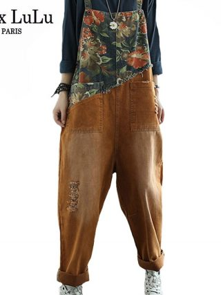 Women Floral Denim Trousers