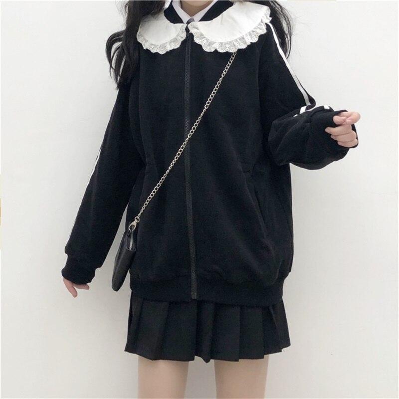 Japanese Preppy Style Sweet Soft Girly Black Zip JK Women Jacket 2020 Autumn Cardigan Peter Pan Collar Full Sleeve Ladies Coats 2