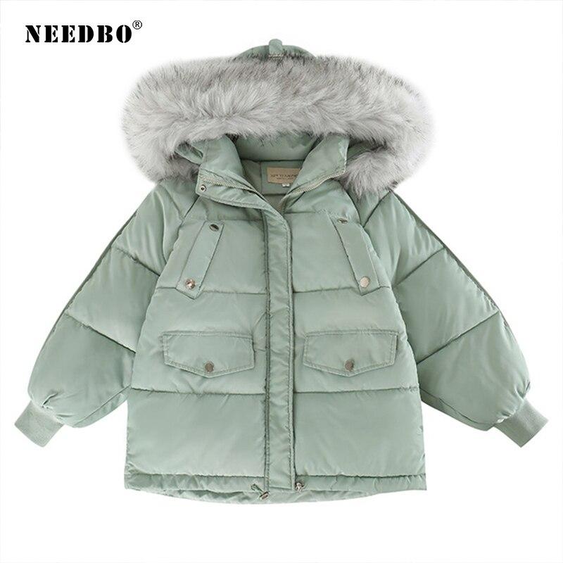 NEEDBO Down Coat Winter Oversize Fur Collar Womens Down Jackets ultra Light women Down Jacket Hood Winter Jacket Coat Down 2