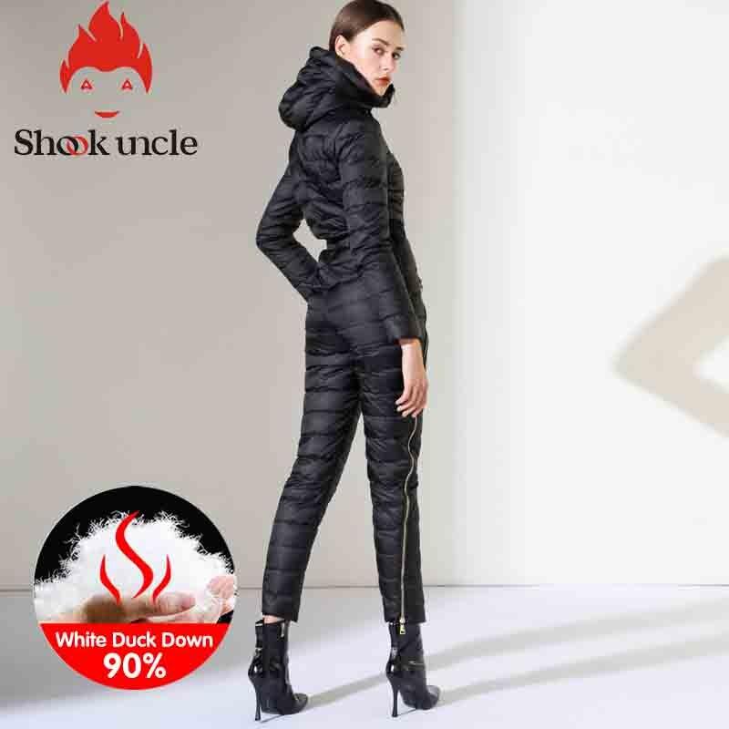 Winter New Women's Slim Fit Jumpsuit 90% White Duck Down Jacket Waist Thickening Warm Slim Elastic Outdoor Ski Women Down Jacket 2