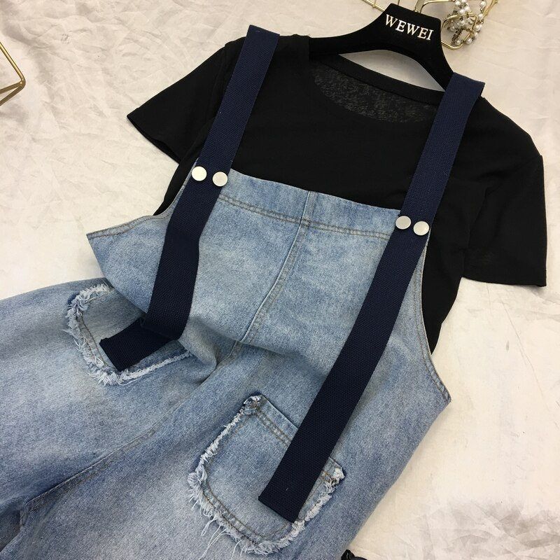 2019 New Women Denim Shorts Overalls Fashion Female Casual Loose Slim Pockets Straps Jeans High Waist Large Size 4XL 5XL M66 4