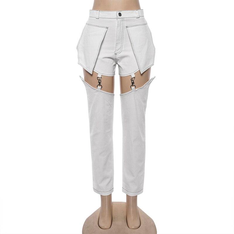 Punk Style Jeans Women Hip Hop Pocket White Hole Ripped Denim Pants Lady Autumn Straight Trousers Chain Detachable Pants Female 2