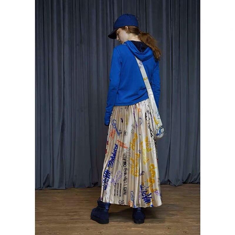 IRINACH32 Fall Winter 2019 New Collection graffiti print long pleated skirt women 3