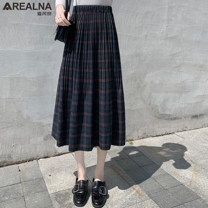 Korean Style Black School Pleated Skirt for Women Plaid Tweed Skirts Womens Long Skirts Womens Midi Skirt Checkered Tartan Skirt 4