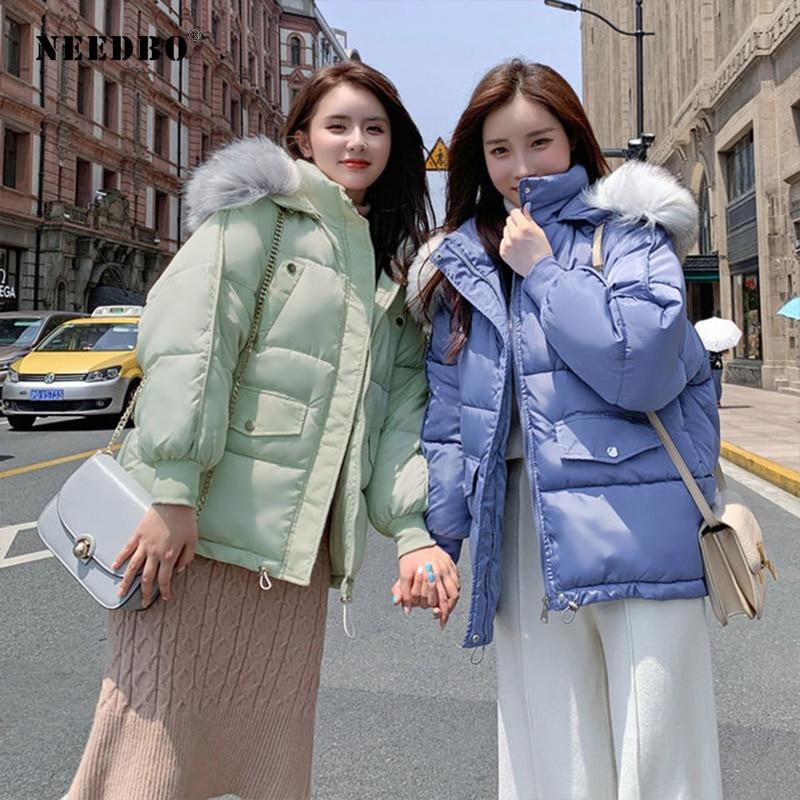 NEEDBO Down Coat Winter Oversize Fur Collar Womens Down Jackets ultra Light women Down Jacket Hood Winter Jacket Coat Down 1