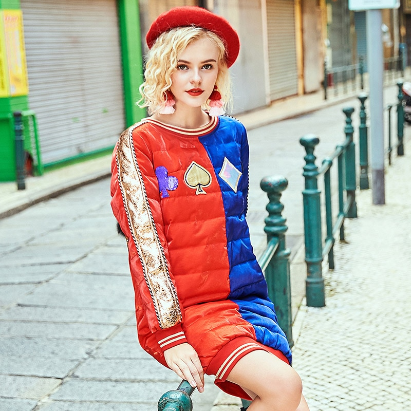 2020 Winter raccoon fur diamond long coats fashion embroidery sequins patch designs women down jackets 2