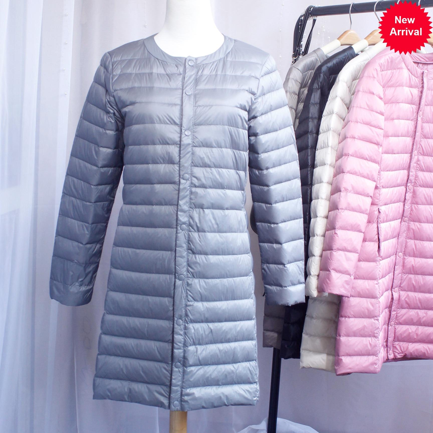 New 2020 Women Down Jacket Ultra Light White Duck Down Long Coat Slim O-Neck Warm Inner Bottoming Garment 1