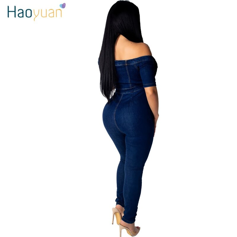 ZOOEFFBB Sexy Off Shoulder Denim Rompers Women Jumpsuit Elastic Fashion Clothes Body Overalls One Piece Bodycon Jean Jumpsuit 2