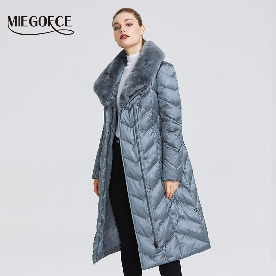 MIEGOFCE 2020 New Collection Women's Jacket With Rabbit Collar Women Winter Coat Unusual Colors That a Windproof Winter Parka 2