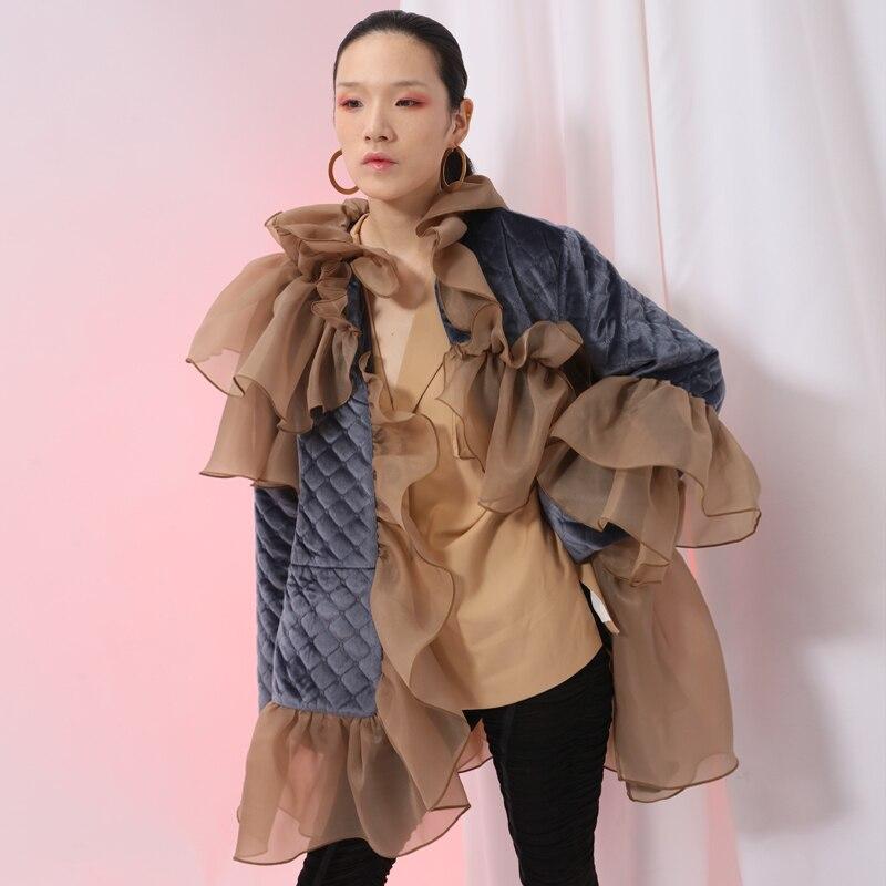 [EAM] 2020 New Spring Ruffles Mesh Stitch Loose Large Size Velour Cotton-padded Coat Women Jacket Fashion Tide JI588 3