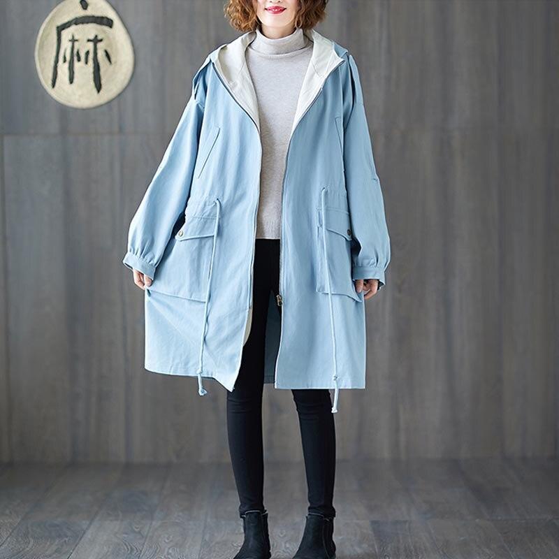 Plus Size 4XL 5XL 6XL 7XL Women Jackets Oversize Autumn Winter Thicken Cotton Hoody Outerwear Vintage Zipper Long Windbreaker 4