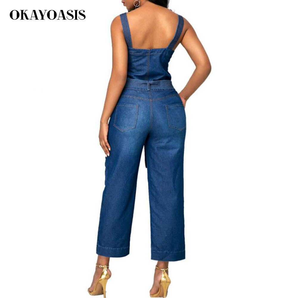 OKAYOASIS Jeans Jumpsuits for Women Loose Denim Overalls 2018 Summer Combinaison with Pockets Enteritos Female 3