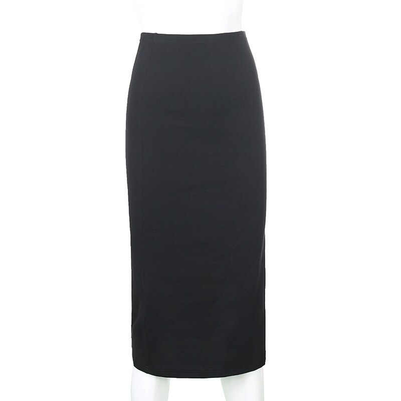 Forefair Women Long Skirts High Split High Waist Black Sexy Skinny Simple Design Knitted Elegant Fashion Female Mid-Calf Skirts 3
