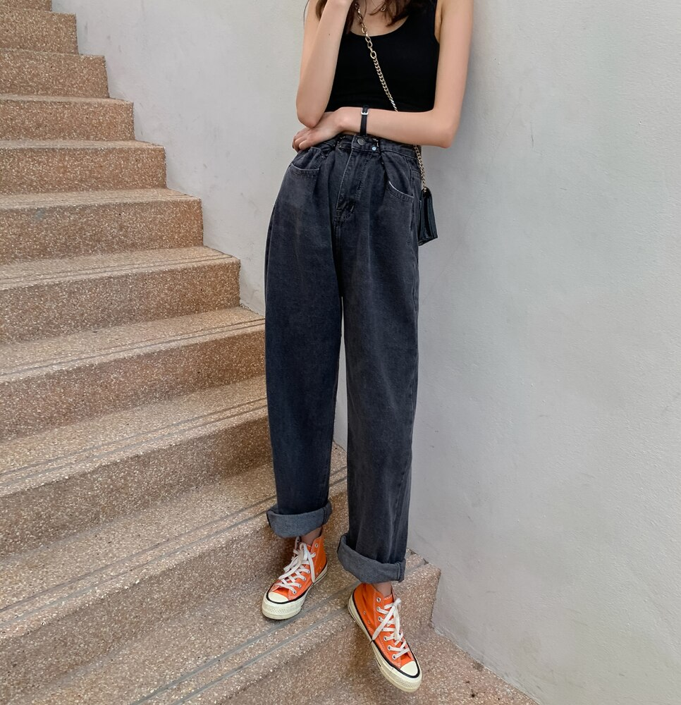 Women Jeans For Women Fashion Straight Loose Boyfriend Chic Full Length High Waist Casual Cotton Jean Female Denim Pants WJ124 3