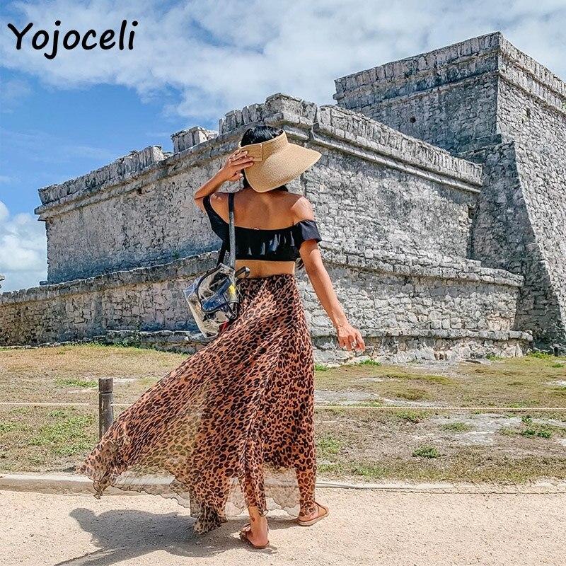 Yojoceli leopard chiffon skirt bottom women long skirt streetwear boho female skirt print skirt bottom 3