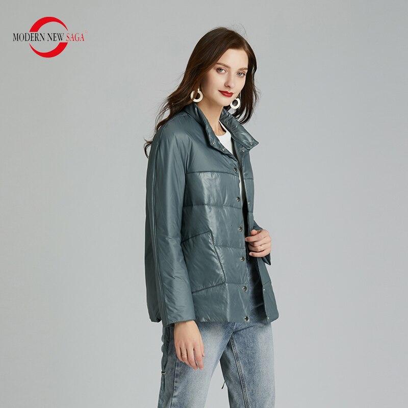 MODERN NEW SAGA 2020 Spring Women Jacket Thin Cotton Padded Jacket Autumn Women Coat Standed Collar Puffer Jacket Women Green 1