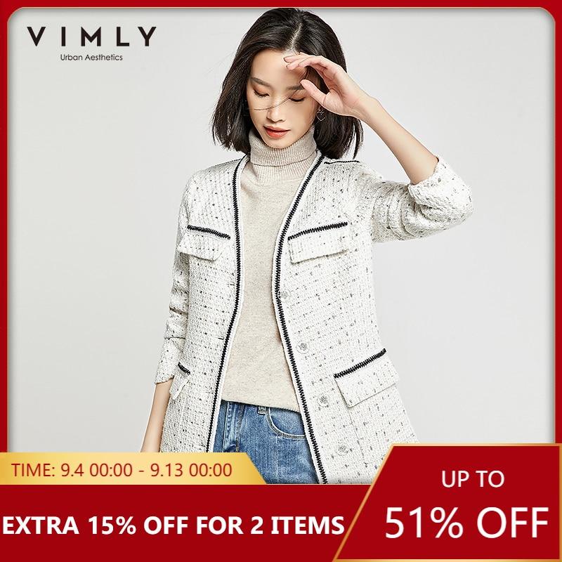 Vimly Women Jacket Elegant Office Lady Single Breasted Patchwork Pockets Long Coat Spring Autumn Vintage Female Overcoat 98665 1