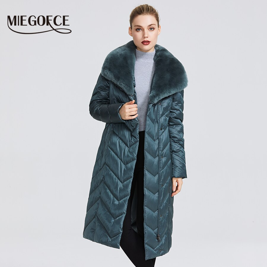 MIEGOFCE 2020 New Collection Women's Jacket With Rabbit Collar Women Winter Coat Unusual Colors That a Windproof Winter Parka 3