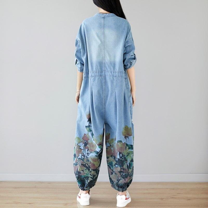 Plus Size Jeans Woman High Waist Long Sleeves Rompers Womens Jumpsuit Cotton Denim Overalls O-neck Print Loose Pantalon Femme 1