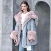 Actual Raccoon Fox Fur Collar hooded Girls Down Jacket