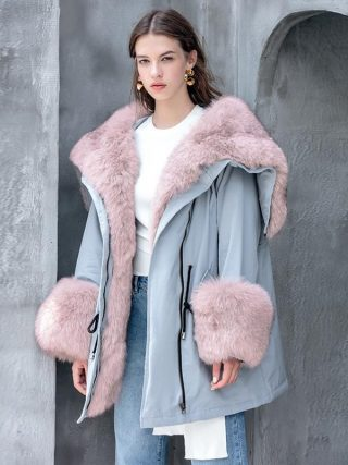 Actual Raccoon Fox Fur Collar hooded Girls Down Jacket