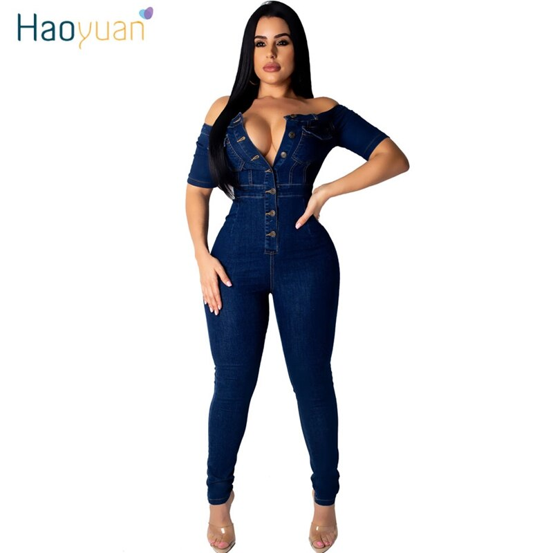 ZOOEFFBB Sexy Off Shoulder Denim Rompers Women Jumpsuit Elastic Fashion Clothes Body Overalls One Piece Bodycon Jean Jumpsuit