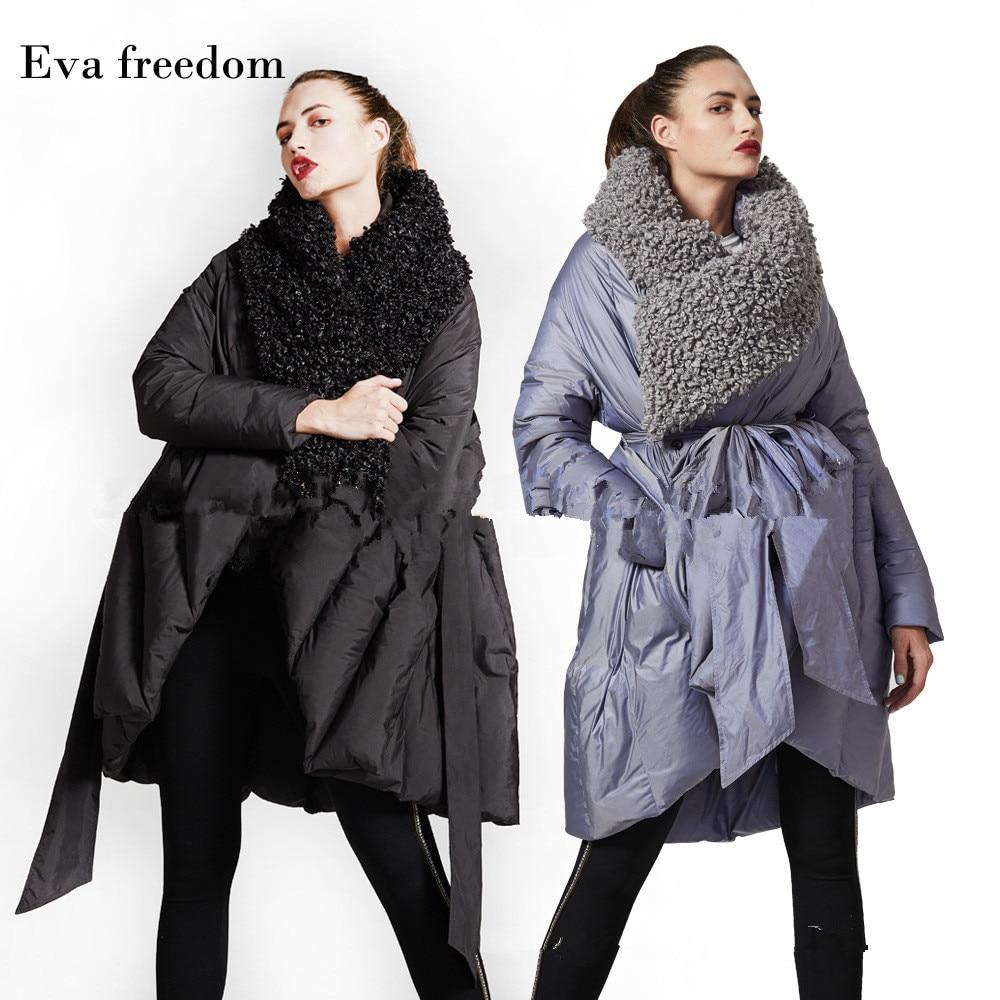 Eva Freedom Original Design down coat woman winter loose down coat Imitation beach wool cloak down jacket hooded women 1