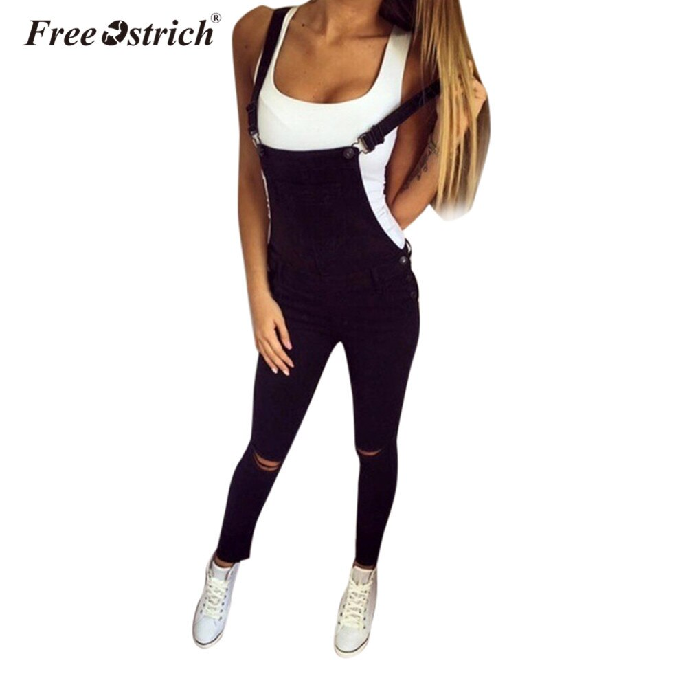 Free Ostrich Jumpsuit 2019 Women Loose Denim Bib Hole Pants Overalls Jeans Demin Trousers S40