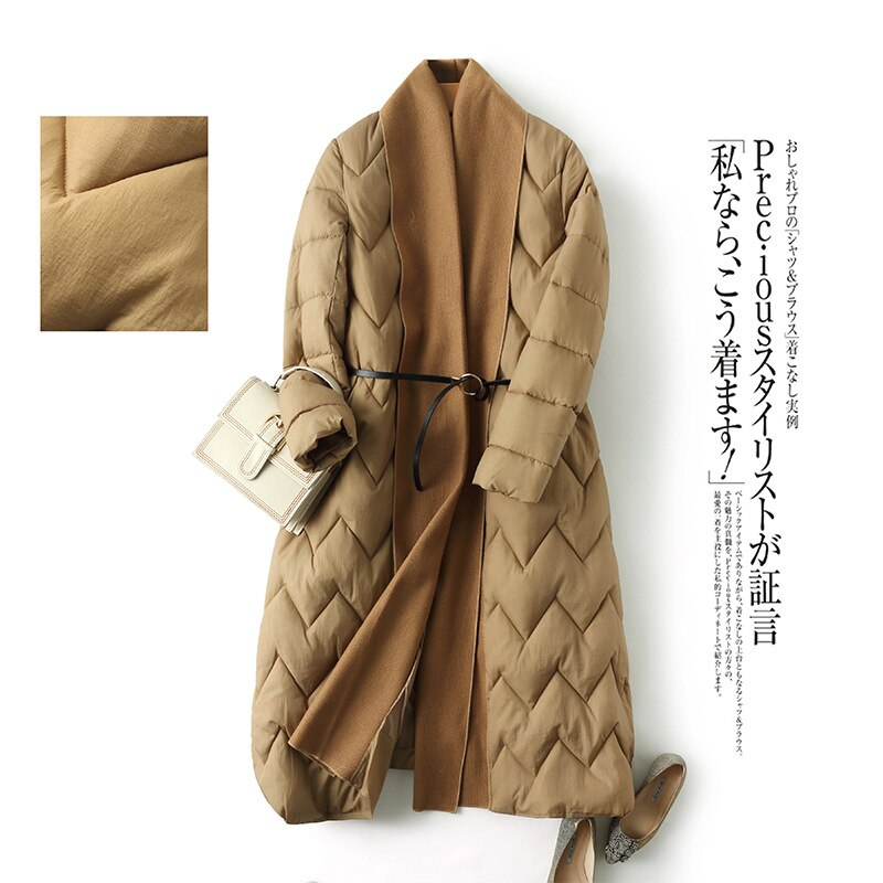 Original fashion style winter long women's jacket thicken coat loose cotton padded parkas cloak type outwear soft comfortable