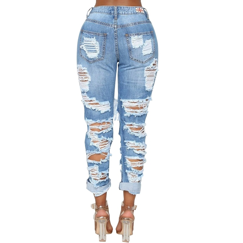 Fashion Ripped Jeans For Women Denim Straight Pants Trousers Mid Waist Casual Skinny Jeans Torn Jeggings boyfriend jeans 2020 3