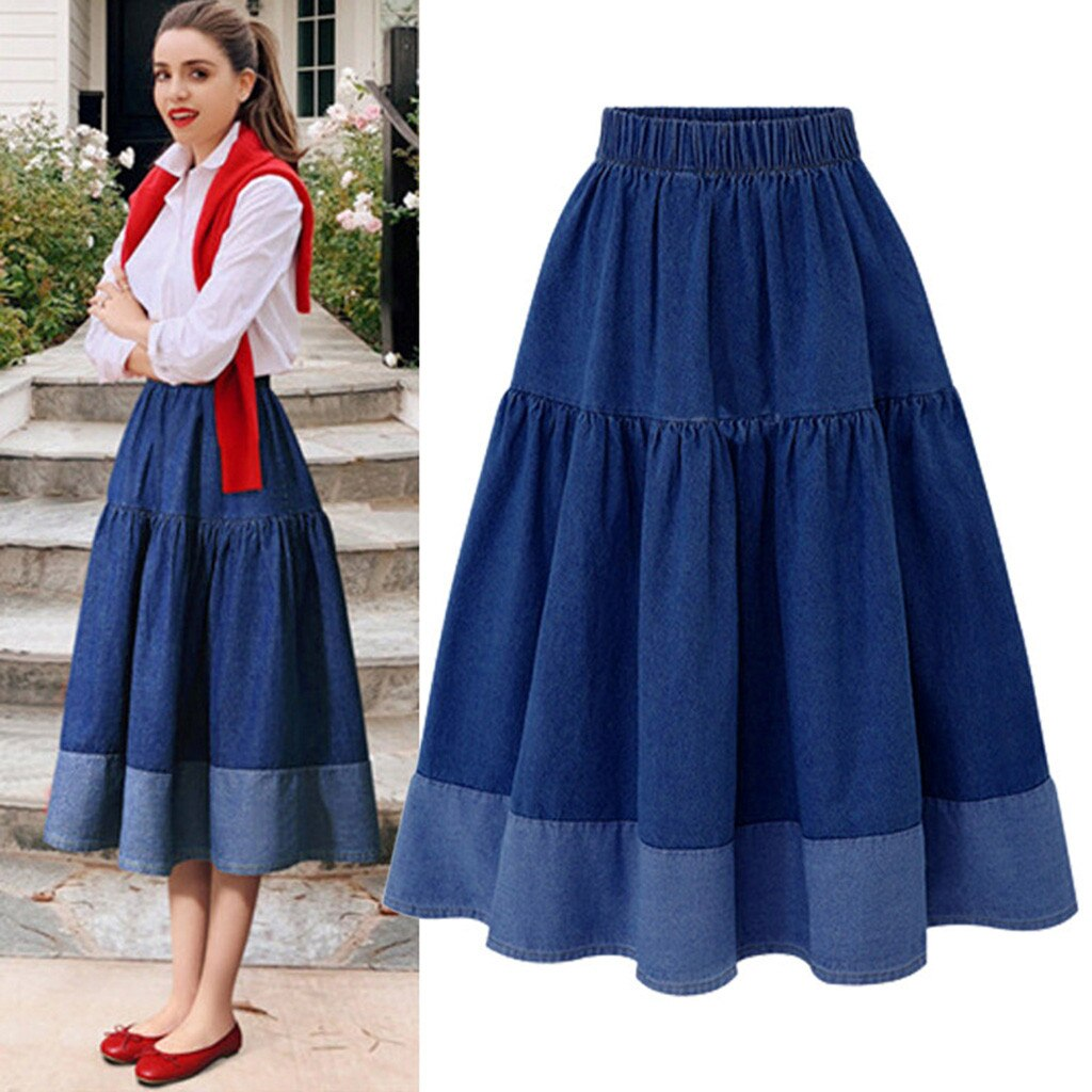 Womail Fashion Women Long Skirts Elastic Waist Pleated Maxi Skirts Beach Boho Vintage Summer High-quality Temperament skirt 1