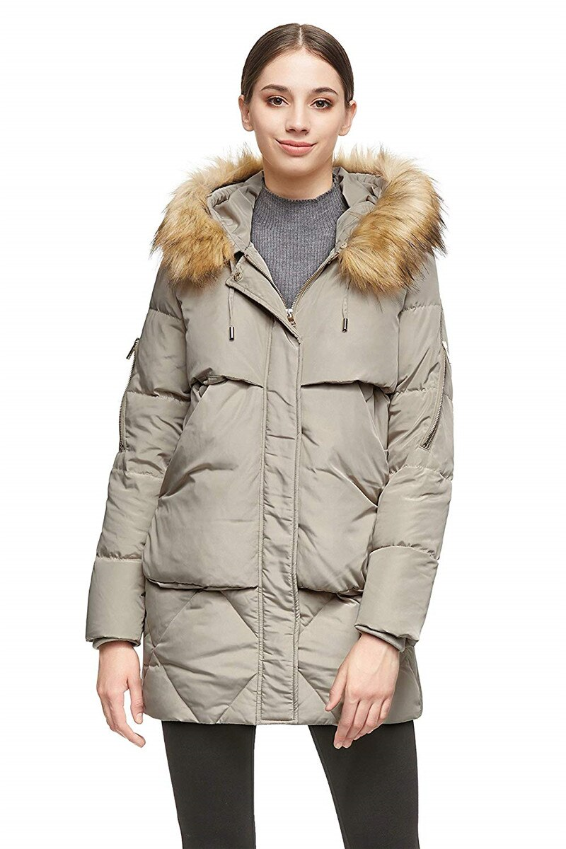 Women Thickened Mid-Long Down Jacket with Removable Fur Hood Large Pockets 4
