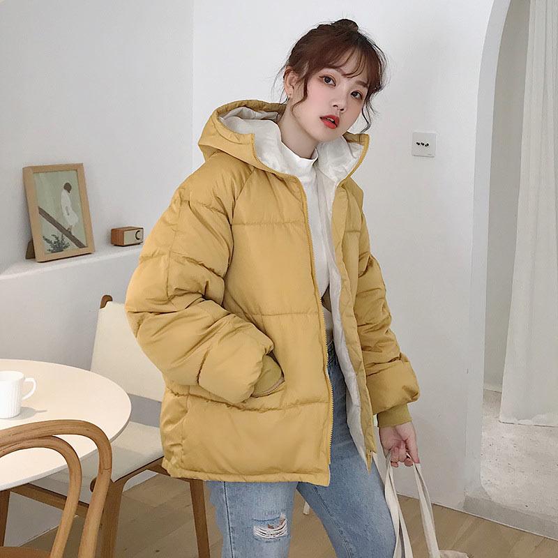 Women down coat 2020 new full zipper solid fashion cotton-padded women down jacket big hooded warm winter jacket women coat 4