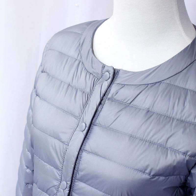 New 2020 Women Down Jacket Ultra Light White Duck Down Long Coat Slim O-Neck Warm Inner Bottoming Garment 3