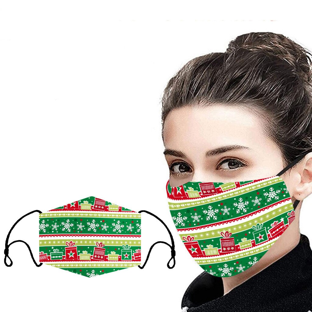 Unisex Christmas Face Mask Windbreak Mouth Cover Outdoor Riding Quick-drying deer print Fabric face Reusable mask mascarillas 4