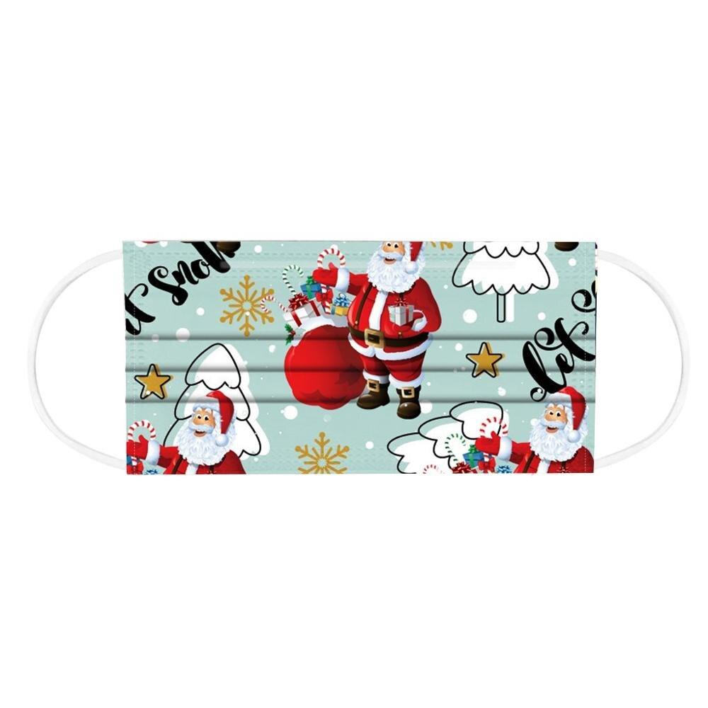 10pcs Christmas Face Mask Disposable Santa 3ply Earloops Adult Facemask mascarillas navidad tapabocas Mascherine masque Маска 4