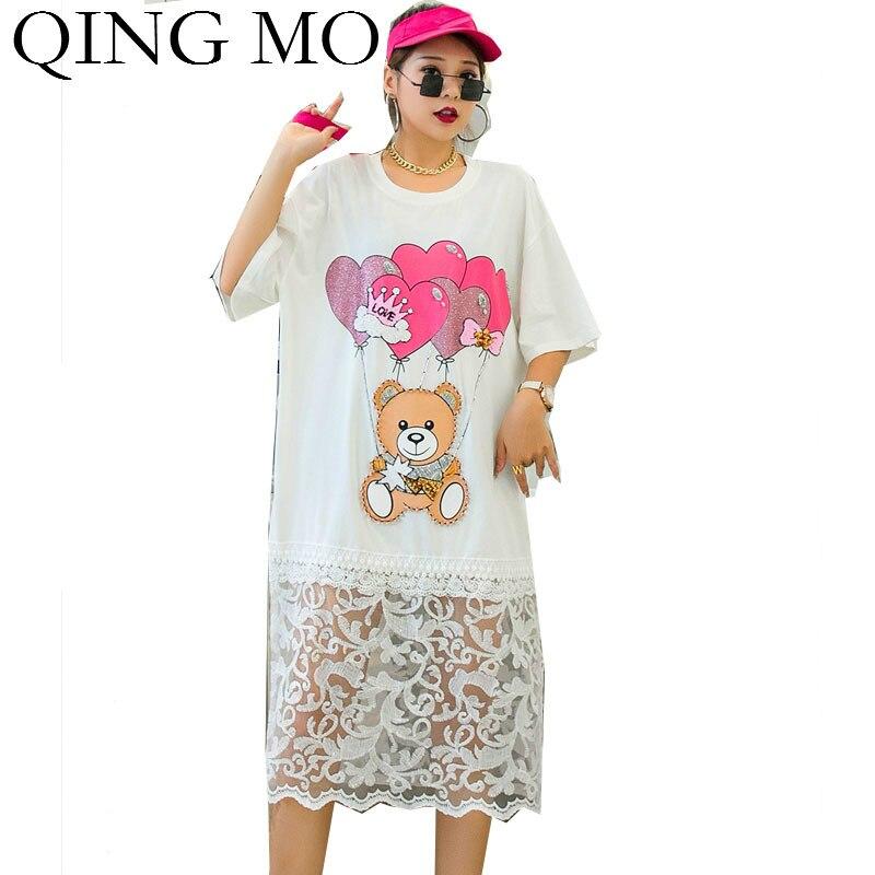 QING MO Loose Women Cartoon Dress With Beading Women Mesh Patchwork Dress Female Summer T Shirt Dress Black White ZQY4364