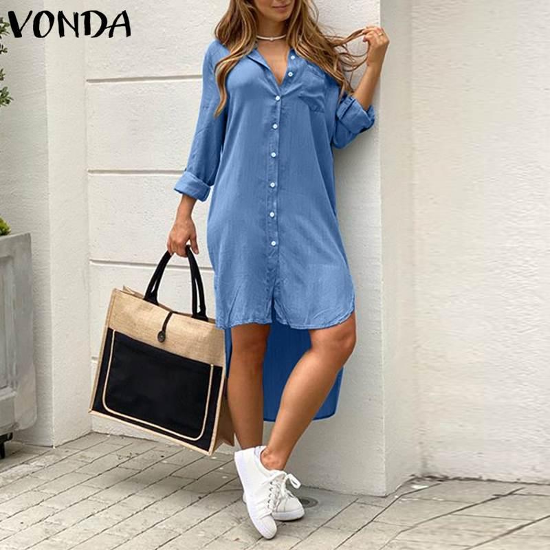 Loose Party Robe Asymmetric Shirt Dress VONDA Women Lapel Dress Autumn Fashion Solid Demin Dress Summer Sundress Bohemian Dress 2